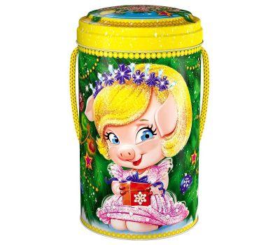 """Акция - Новогодняя упаковка из жести  500 г """"Нюша"""""""