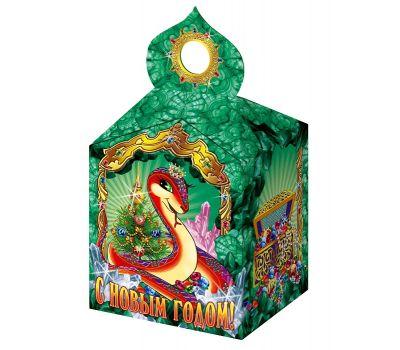 """Новогодняя упаковка из картона """"Змея в малахитовой пещере"""""""