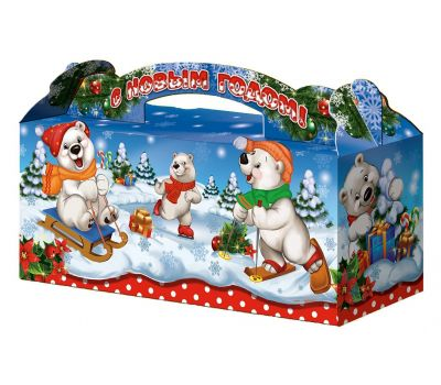 """Новогодний подарок  700 г """"Чемоданчик """"Белые медведи"""""""