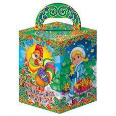 """Новогодняя упаковка из картона """"Петушок и Дед Мороз со Снегурочкой"""""""