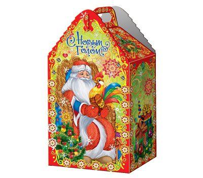 """Новогодняя упаковка из микрогофрокартона """"Дед Мороз и петушок"""""""