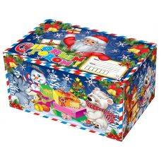 """Новогодняя упаковка 1800 г """"Посылка Деда Мороза (синяя)"""""""