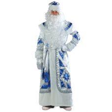 """Новогодний костюм для взрослых """"Дед Мороз"""" серебряно-синий"""