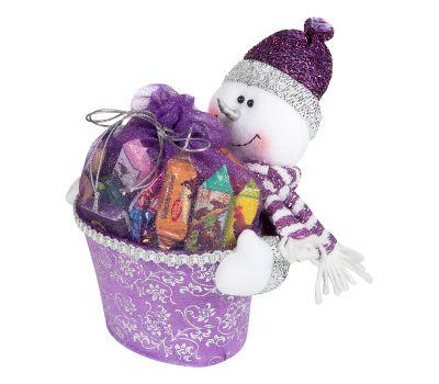"""Новогодний подарок  700 г """"Снеговик с подарком сиреневый"""""""
