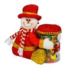 """Новогодняя упаковка  300 г """"Снеговик с банкой"""""""
