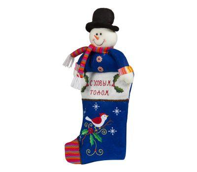 """Новогодний подарок 1200 г """"Снеговик-чулок синий"""""""