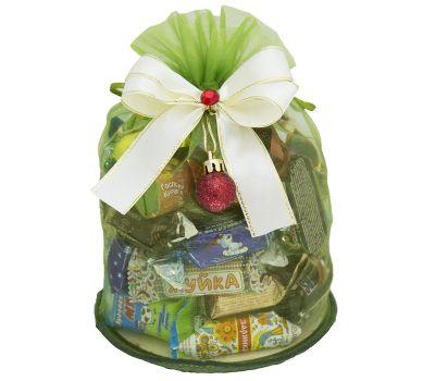"""Новогодний подарок  400 г """"Волшебный мешочек зеленый малый"""" в ассортименте"""