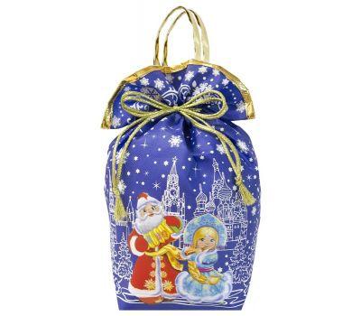 """Новогодний подарок 1500 г """"Мешочек с двумя ручками """"Дед Мороз и Снегурочка"""" синий большой"""""""