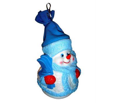"""Новогодний подарок в упаковке из ПВХ  850 г """"Снеговик Снежинкин (синий колпак)"""""""