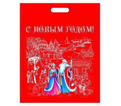 Новогодняя упаковка Сумка с вырубной ручкой красная