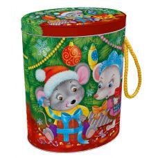 """Новогодняя упаковка из жести  600 г """"Овал """"Снежок"""""""