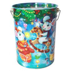 "Новогодняя упаковка из жести 1800 г ""Ведро ""Мышки шалунишки"""