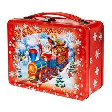 """Новогодняя упаковка 1000 г """"Чемоданчик средний """"Дед Мороз и паровоз"""""""