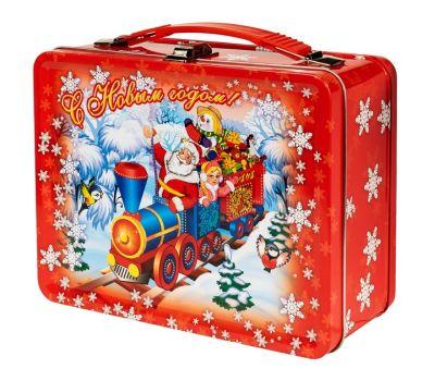 """Новогодний подарок 1200 г """"Чемоданчик большой """"Дед Мороз и паровоз"""""""