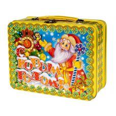 """Новогодний подарок  850 г """"Чемоданчик средний """"Дед Мороз с часами"""""""