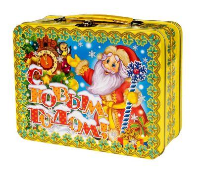 "Новогодняя упаковка 1000 г ""Чемоданчик средний ""Дед Мороз с часами"""