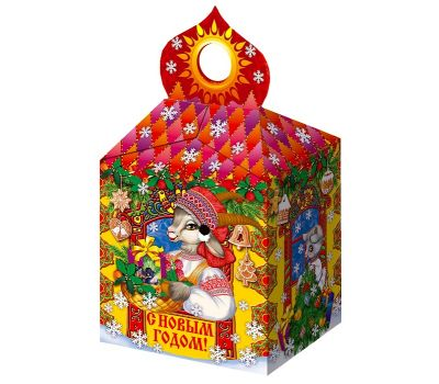 """Новогодняя упаковка из картона """"Коза с козлятами"""""""