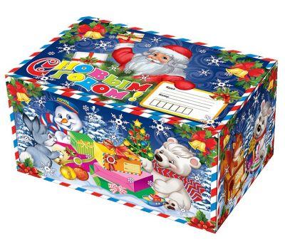 """Новогодний подарок 1500 г """"Посылка Деда Мороза (синяя)"""""""