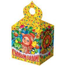 """Новогодняя упаковка из картона  600 г """"Купол малый """"Поросята у елочки"""""""