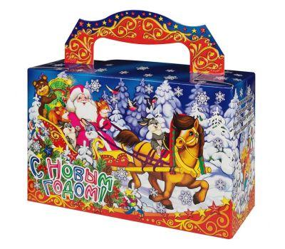 """Новогодняя упаковка  500 г """"Дед Мороз в санях"""""""
