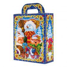 """Новогодняя упаковка из микрогофрокартона 1100 г """"Снеговик и поросята"""""""