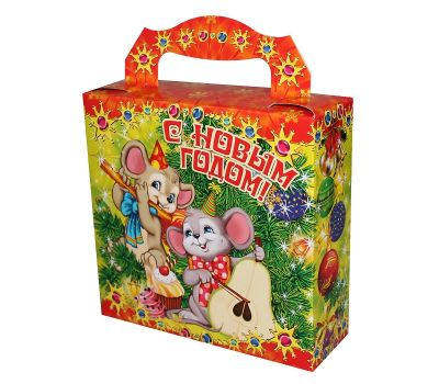 """Новогодняя упаковка из картона  700 г """"Мыши-музыканты"""""""