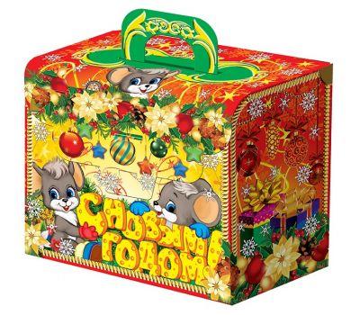 """Новогодняя упаковка из картона 1000 г """"Портфель с мышатами"""""""