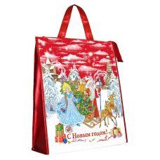 Новогодняя упаковка Сумка ламинированная на молнии красная
