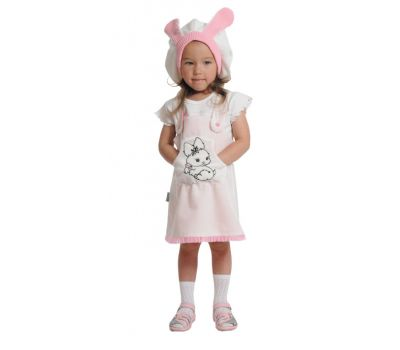 """Маскарадные костюмы для детей """"Зайка бело-розовая"""""""