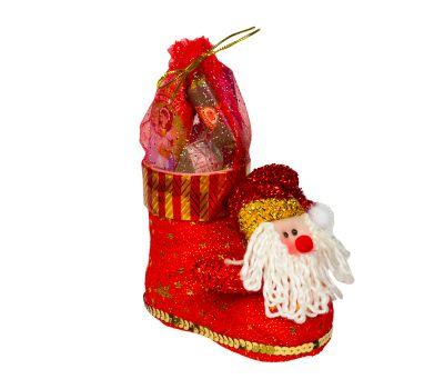 """Новогодняя упаковка  300 г """"Сапожок с Дедом Морозом малый"""""""