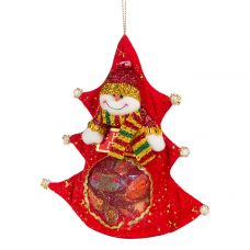 """Новогодняя упаковка  400 г """"Елка со снеговиком красная"""""""