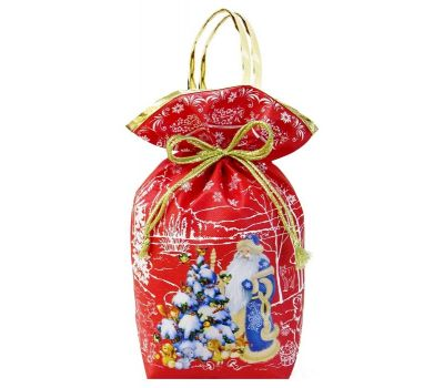 """Новогодняя упаковка 1200 г """"Мешочек с ручками """"Дед Мороз и елочка"""" красный"""""""