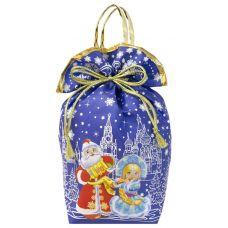 """Новогодняя упаковка 2000 г """"Мешочек с двумя ручками """"Дед Мороз и Снегурочка"""" синий большой"""""""