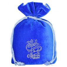 """Новогодний подарок 1200 г """"Мешочек бархатный синий большой с вышивкой"""""""