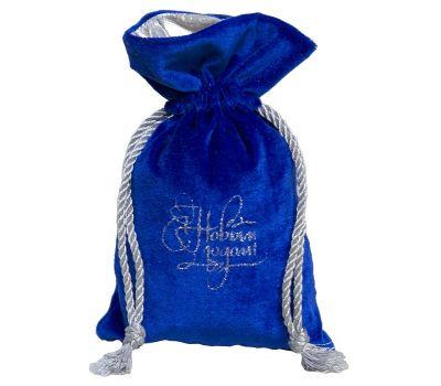 """Новогодняя упаковка 1000 г """"Мешочек бархатный комбинированный средний синий"""""""