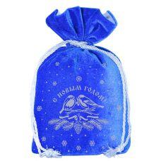 """Новогодний подарок  850 г """"Мешочек бархатный комбинированный синий """"Снегири"""""""