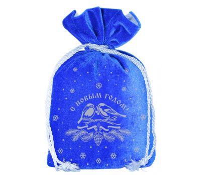 """Новогодняя упаковка 1000 г """"Мешочек бархатный комбинированный синий """"Снегири"""""""