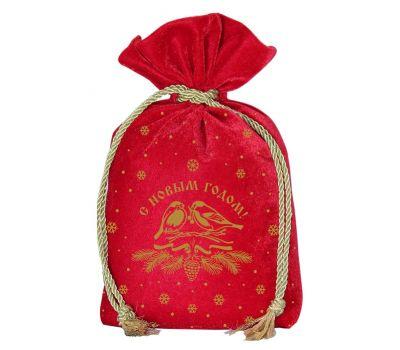 """Новогодний подарок  850 г """"Мешочек бархатный комбинированный красный """"Снегири"""""""