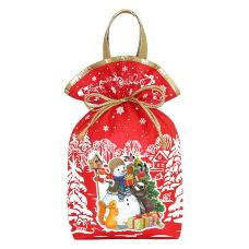 """Новогодняя упаковка 1500 г """"Мешочек с двумя ручками """"Снеговик"""" красный"""""""