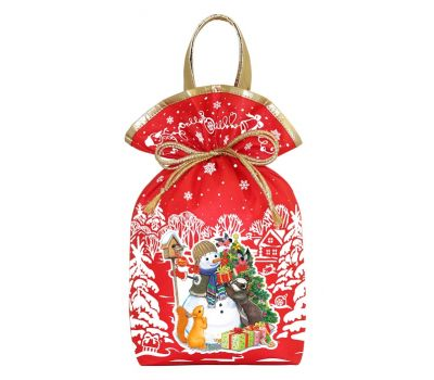 """Новогодний подарок 1200 г """"Мешочек с двумя ручками """"Снеговик"""" красный"""""""