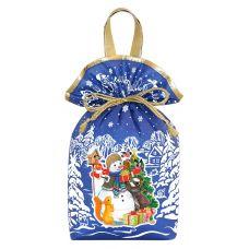 """Новогодняя упаковка 1500 г """"Мешочек с двумя ручками """"Снеговик"""" синий"""""""