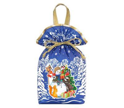 """Новогодний подарок 1200 г """"Мешочек с двумя ручками """"Снеговик"""" синий"""""""