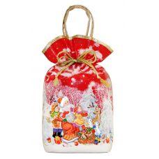 """Новогодний подарок 1200 г """"Мешочек с двумя ручками """"Дед Мороз и дети"""" ламинированный красный"""""""
