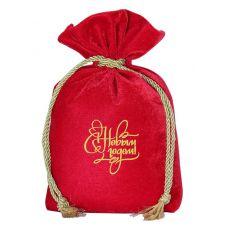 """Новогодний подарок  850 г """"Мешочек бархатный комбинированный красный"""""""