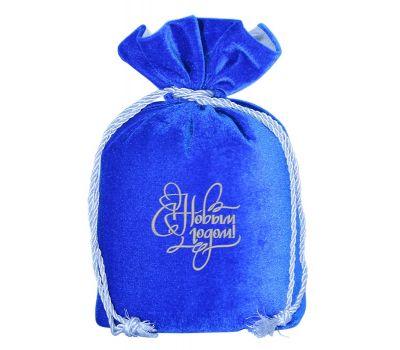 """Новогодняя упаковка 1000 г """"Мешочек бархатный комбинированный синий"""""""