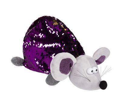 """Новогодняя упаковка - мягкая игрушка 1800 г """"Мышь фиолетовая блестящая"""""""