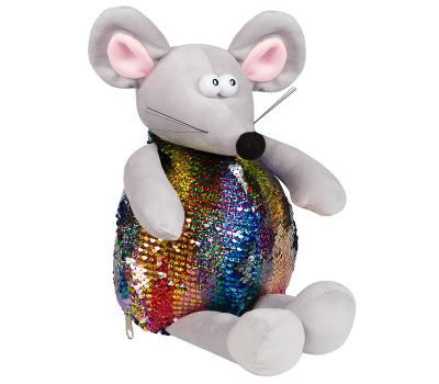 """Акция - Новогодняя упаковка - мягкая игрушка 1200 г """"Мышь блестящая разноцветная"""""""
