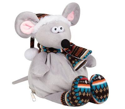"""Новогодняя упаковка - мягкая игрушка 1500 г """"Мышь в колпачке"""""""
