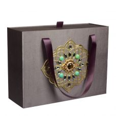 """Новогодний подарок 1500 г """"Декоративная подарочная коробка большая серая"""""""