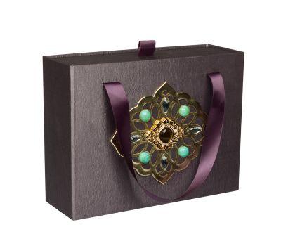 """Новогодний подарок  700 г """"Декоративная подарочная коробка средняя серая"""""""